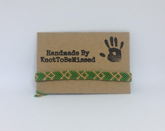 Handmade Woven Macrame Friendship Bracelet Green And Tan