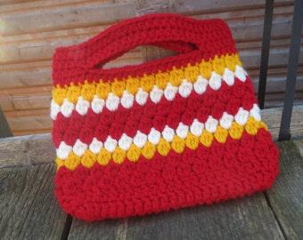 Hand crocheted cute Handbag in red, yellow and cream