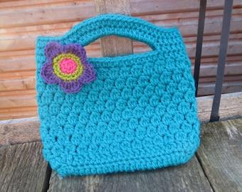 Hand crocheted cute Handbag in teal