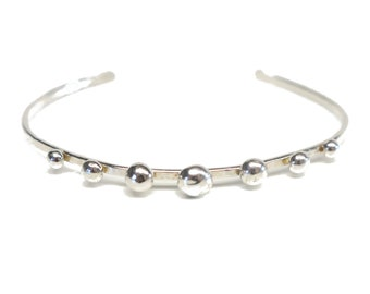 100 % Sterling Silver Dot Cuff: With 7 Dots.FREE US Standard Shipping.
