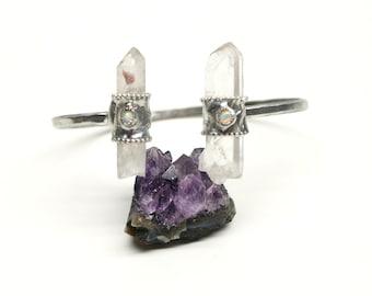 Raw Quartz Crystal Open Cuff Bracelet with Opal.FREE US Standard Shipping.
