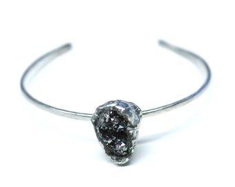 Silver Bracelet with a Sparkly Druzy Pendant.FREE US Standard Shipping.