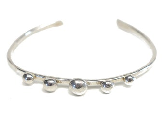 100 % Sterling Silver Dot Cuff: With 5 Dots.FREE US Standard Shipping.