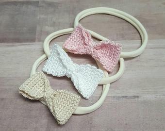 Bow Headband - Crochet Bow - Baby Accessory - 2 Inch Bow - Bow Headband - Crochet Bow Headband - Baby Girl Hair Accessories