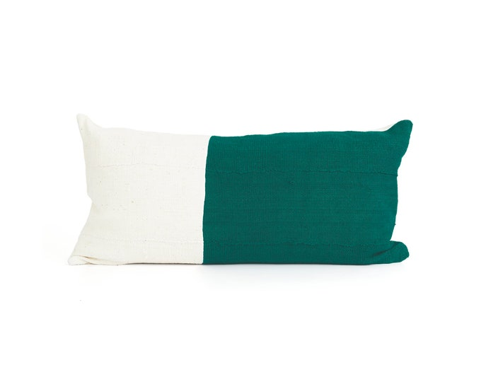 Green and White, Pillow Cover, Textured Color Block, 24x12; Chabot