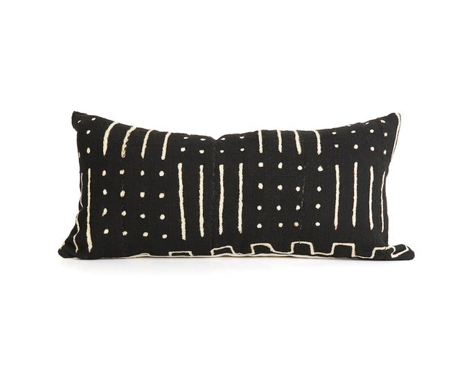 Pillow Cover, Black and White Print, Mud Cloth 12x24