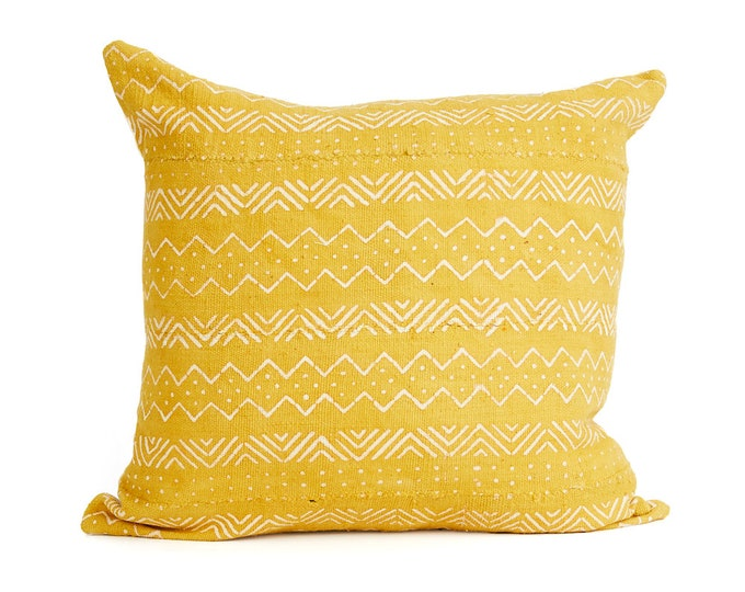 Mud Cloth Pillow Cover, Yellow Gold Mud Cloth 20x20, 18x12
