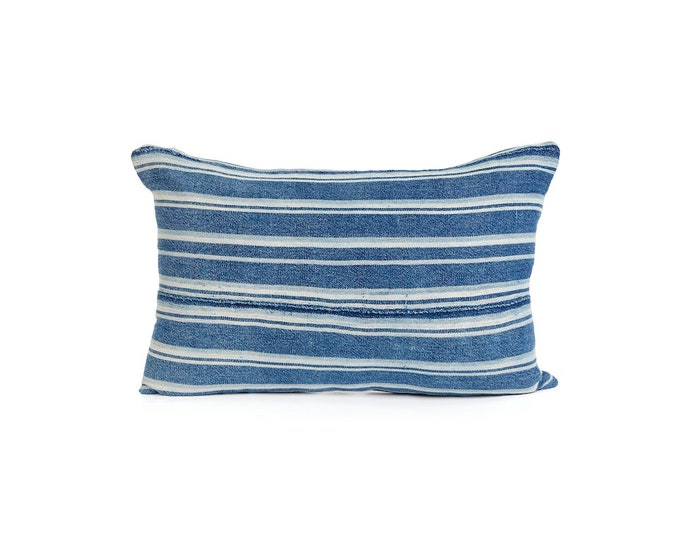 Mud cloth, Blue Lumbar Pillow Cover, Vintage Indigo and White Striped Mud Cloth 18x12