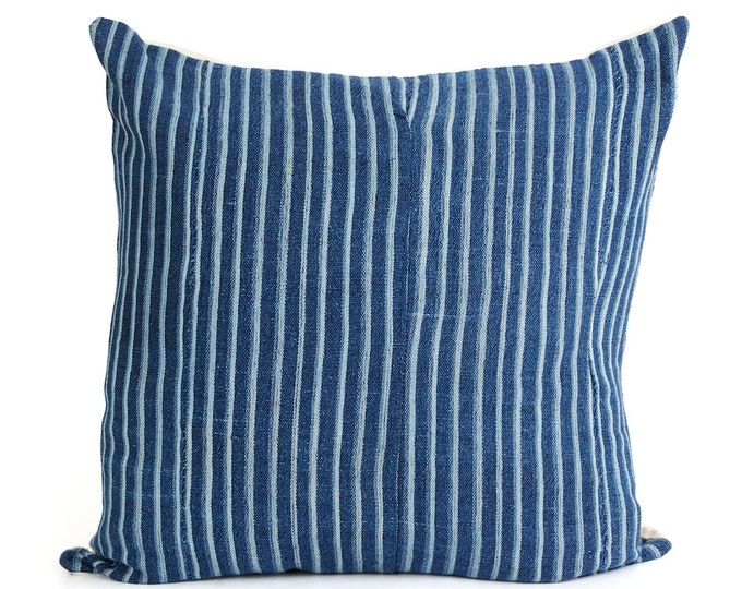 Mud cloth, Blue Pillow Cover, Vintage Indigo and White Striped Mud Cloth 20x20, 18x12