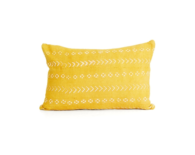 Mud Cloth Pillow Cover, Yellow Gold Mud Cloth Print 20x20, 18x12