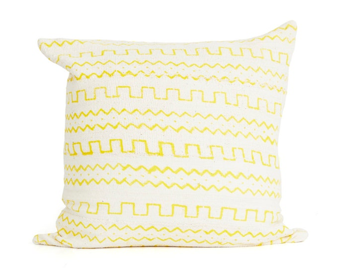 Mud Cloth Yellow Print, Pillow cover 20x20, 18x12