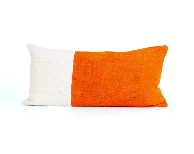 Orange and White, Pillow Cover, Textured Color Block, 24x12; Chabot