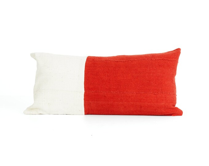 Red and White, Pillow Cover, Textured Color Block, 24x12; Chabot