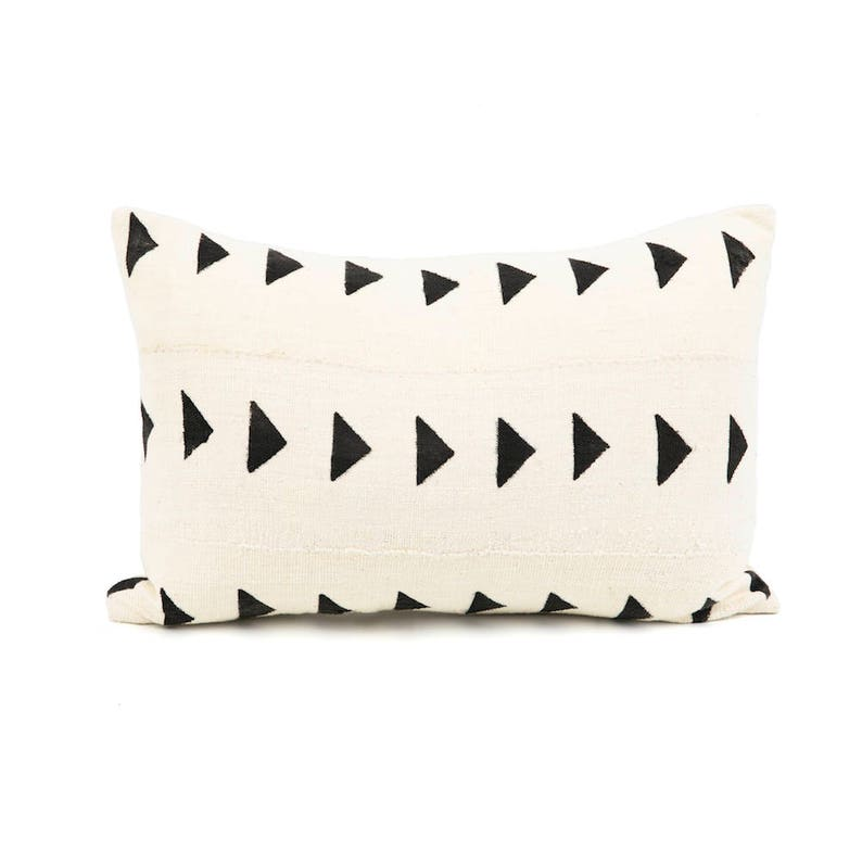 Mud Cloth Handwoven White and Black Lumbar Pillow cover image 0