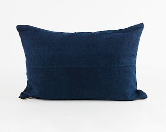 Lumbar Pillow Cover, Vintage Indigo Mud Cloth 18x12