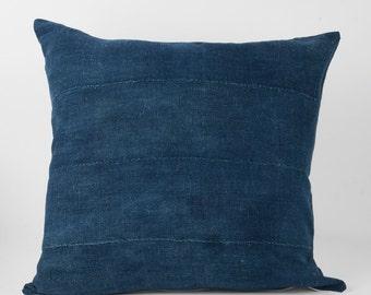 Pillow Cover, Vintage Indigo Mud Cloth, 20x20, 18x12, 12x24