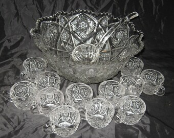 Vintage Whirling Star Punch Bowl with 12 Punch Cups and Glass Ladle