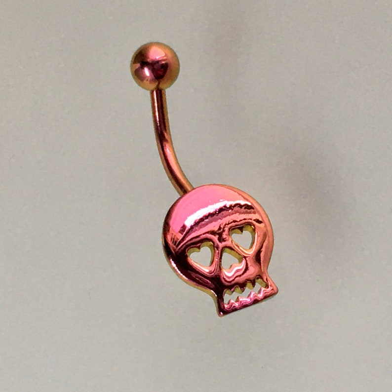 Skull Belly Ring Stainless Steel pinkgold No Dangle Navel piercing