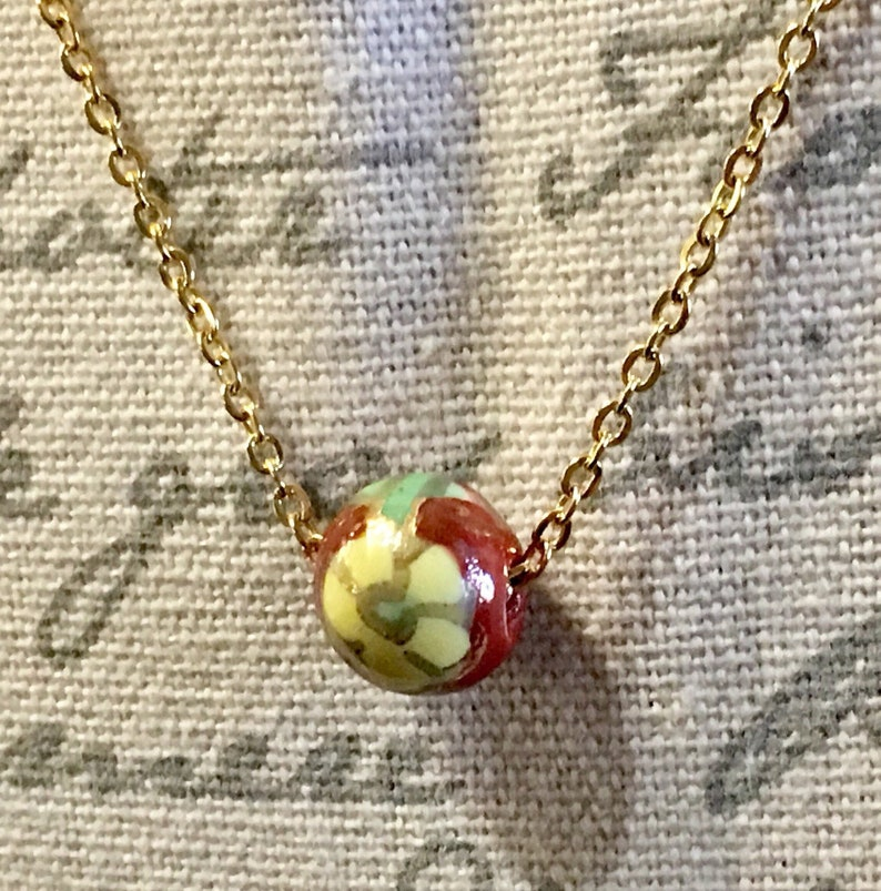 Flower in Yellow and Reds Cloisonn\u00e9 Necklace /& Gold Stainless Steel Chain SALE!
