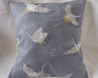 BEAUTIFUL Japanese Style Navy Blue Floral Cranes Waves Cushion with Blue Satin Twisted Cord Trim