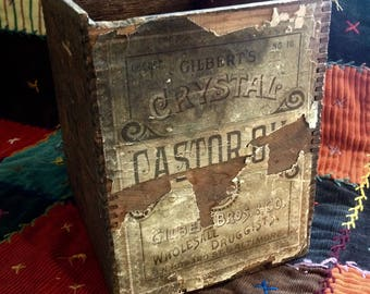 Castor oil wooden box crate pharmacy