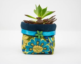 Fabric Plant Pot Floral Blue and Olive