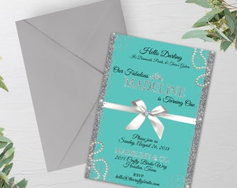ac8d357170 Breakfast at Baby, Baby and Co, Princess 1st birthday, Tiffany Birthday,  Sweet 16 Invitation, Breakfast at co, turquoise blue, 16th invite