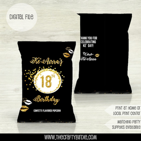 Gold Birthday Favor Bags Gold Birthday Treat Bags Chip