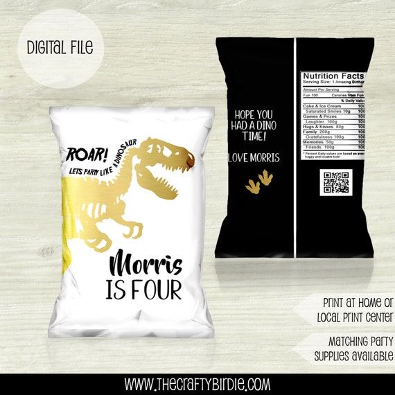 PRINTED SHIPPED Jurassic Dinosaur chip bag  treat  party   Birthday Goodie  Goody  Candy  favor bag