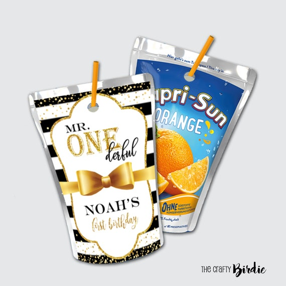Mr ONEderful juice pouches-juice pouch labels-mr onederful birthday party-1st birthday favors-boys 1st birthday-digital-print-onederful