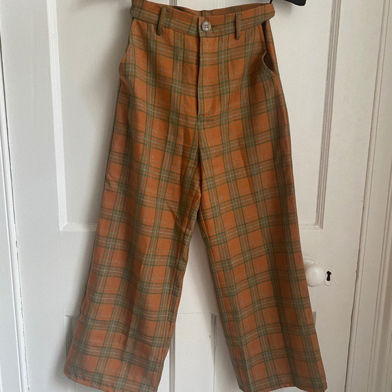 Apricot plaid retro high waisted vintage flares