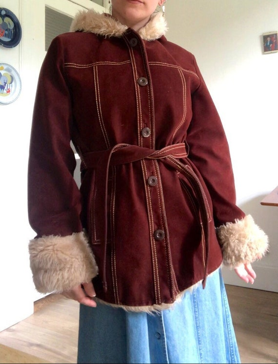 1960's VIRGO faux suede burgundy coat jacket 10