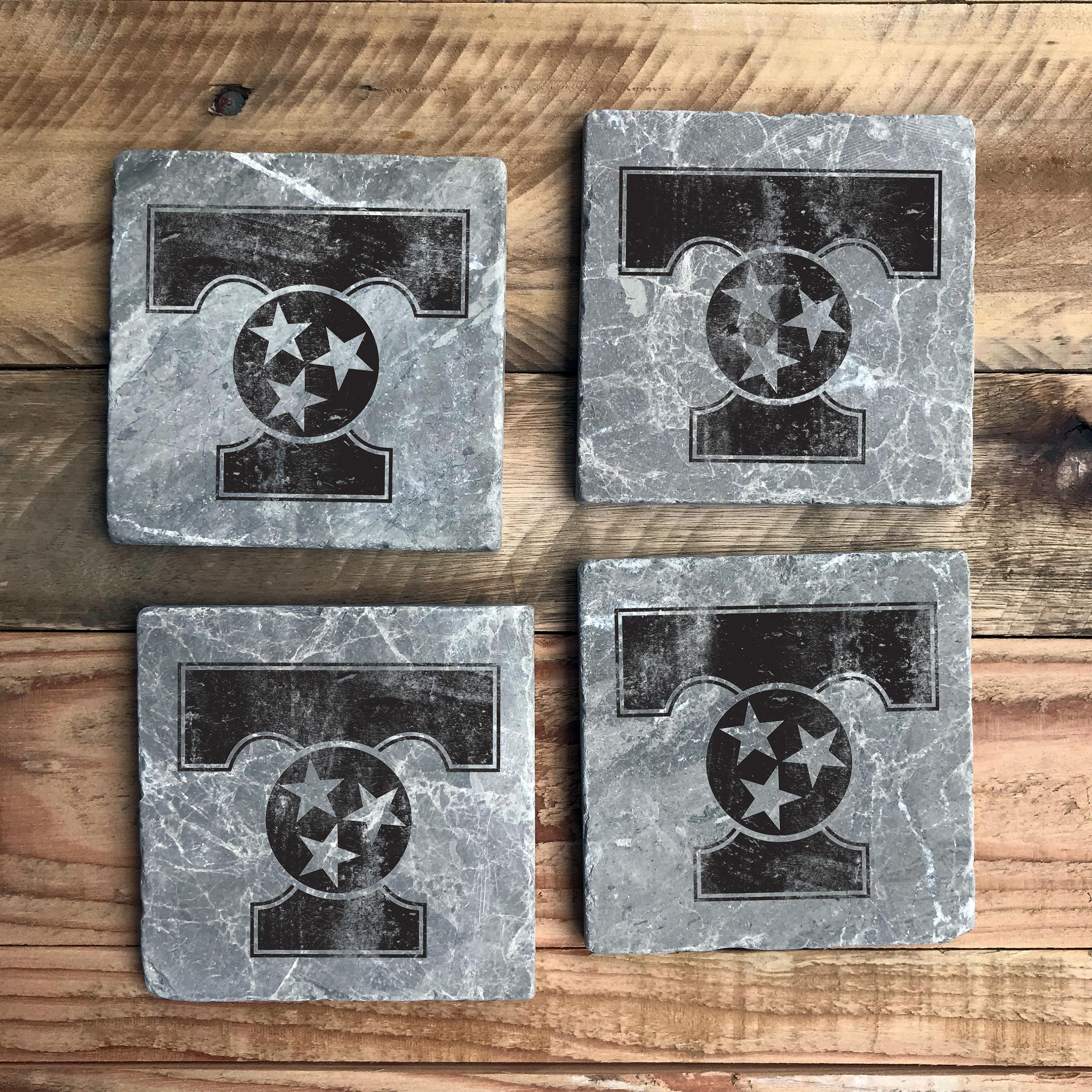 University Of Tennessee Power T Marble Coasters Black