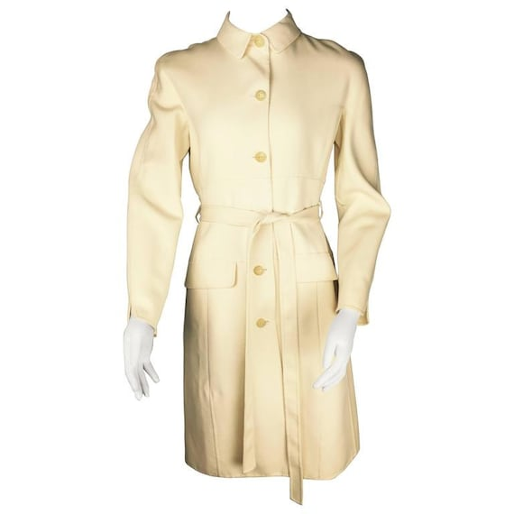 Chado Ralph Rucci Belted Creme Wool Coat.