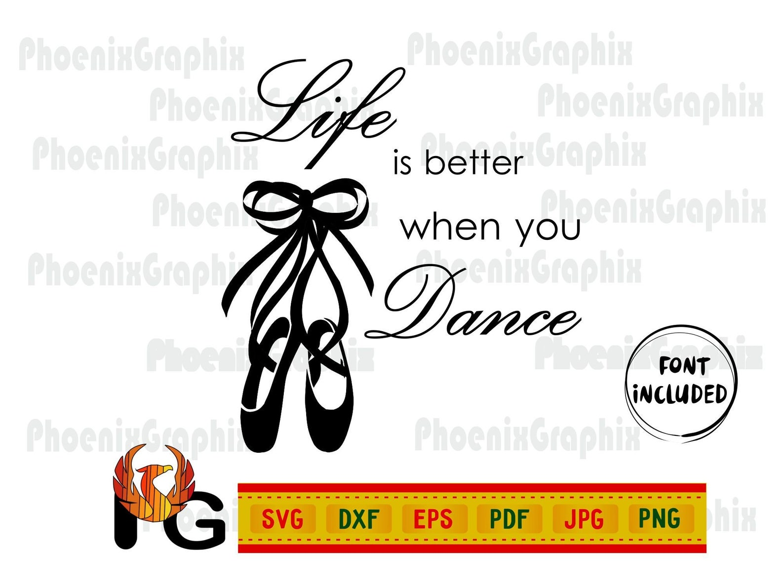 life is better when you dance svg ballet quotes pointe shoes with ribbons bow svg cut files little ballerina wording dxf vector