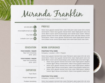 2020 Modern Resume Template Cv Cv Template Professional Etsy
