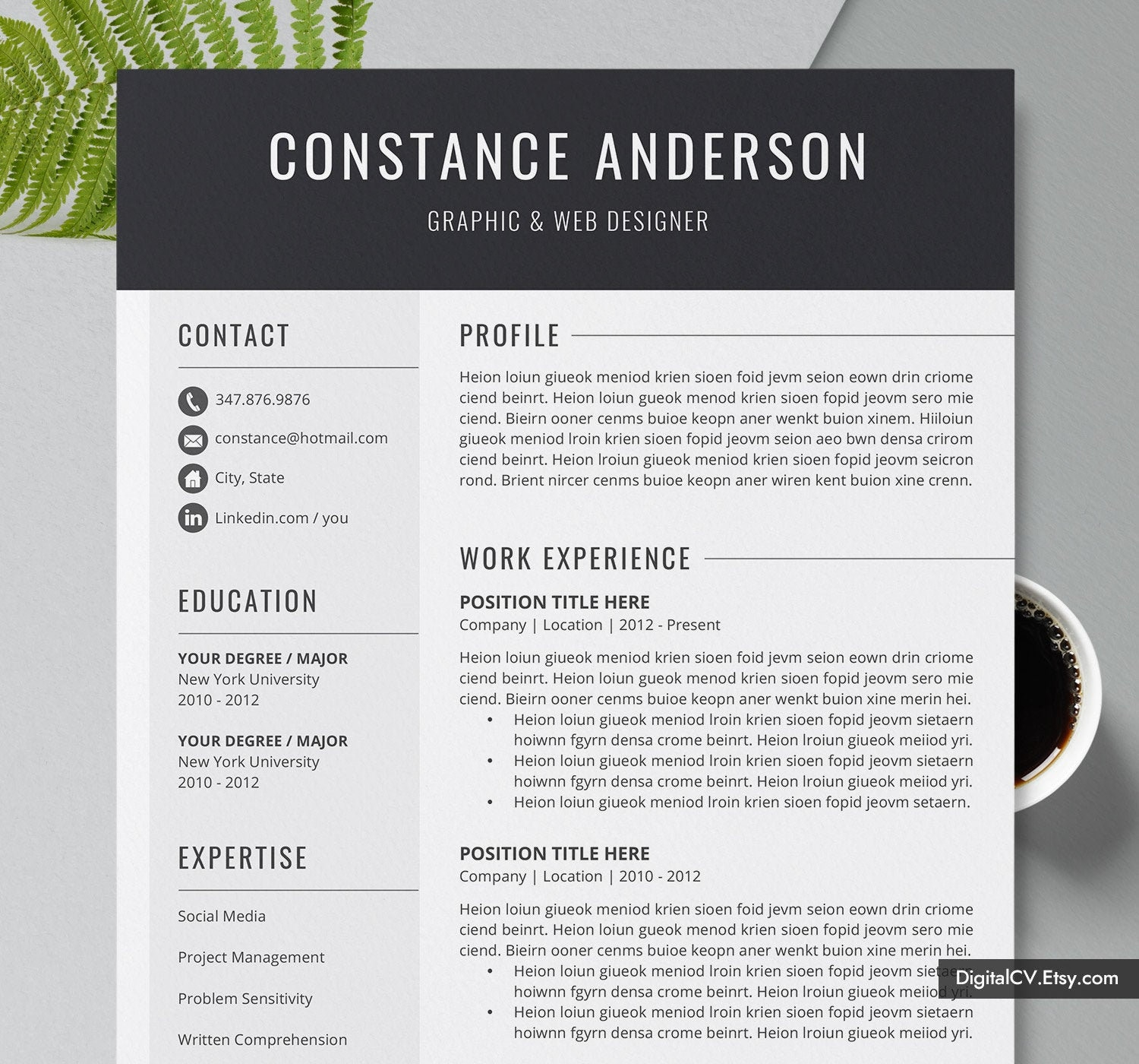 Professional Cv Template Resume Template For Word Cover Etsy