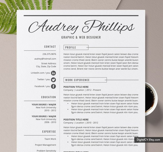 Simple Resume Template For 2020 Professional Cv Template Ms Etsy