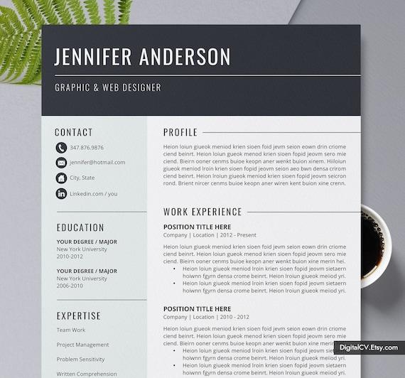 2020 Modern Resume Template Cv Cv Template Professional Etsy