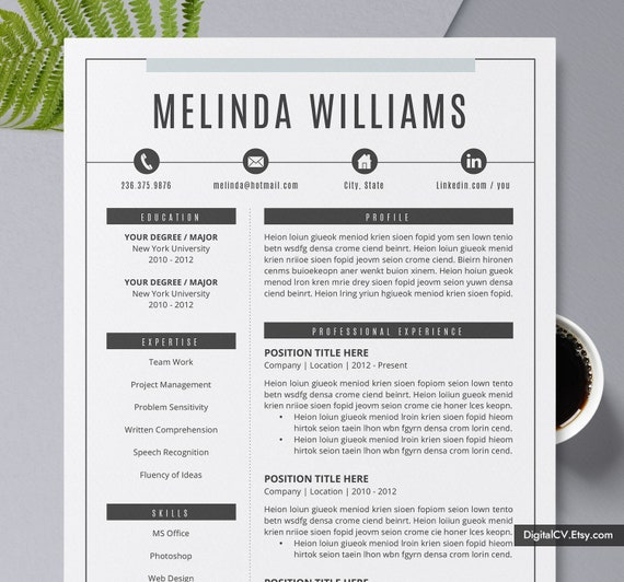 2019 Creative Resume Template Cv Template Modern Professional Resume Design 1 2 3 Page Word Resume Instant Download The Melinda