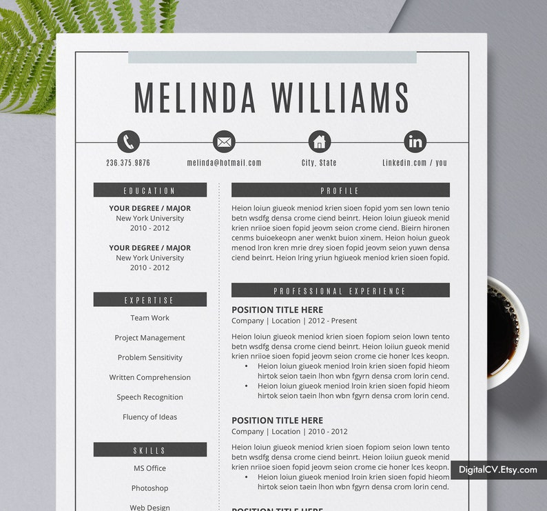 2019 Creative Resume Template CV Modern Professional Design 1 2 3 Page Word Instant Download The Melinda