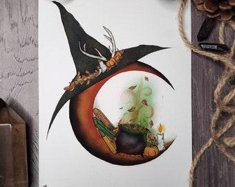 Season Of The Witch Pen /& Ink Print 8x10 The Craft Samhain Halloween Pentagram Black Cat Pumpkin Wicca Autumn Artwork Pagan Fine Art Print