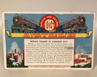 Durham & Southern Railroad Postcard Vintage