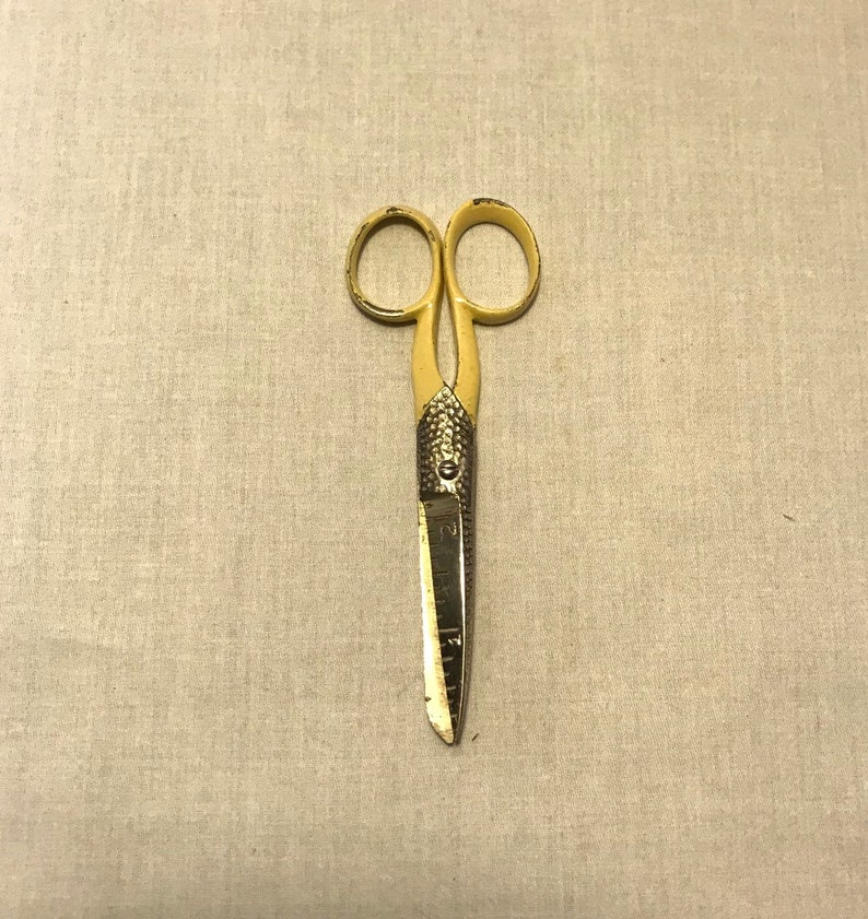 Cream colored USA Made Engraved 2 Ruler 1.875 wide. Sewing Shears Scissors 5.125 tall