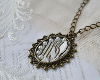 Lace and pearls wedding anniversary pendant, pearl anniversary, gift idea for her, Unique Antique brass necklace with pearl