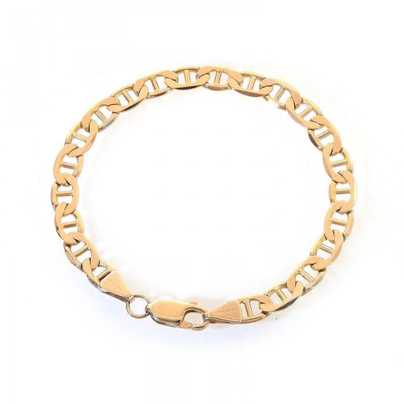 dbe5b93f9afb9 6.2mm 14K Yellow Gold Marine Curb Gucci Link Chain Bracelet Italy