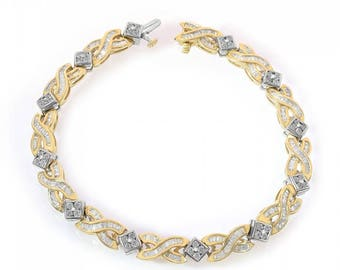 14K Two Tone Gold 2 ct Diamond Bracelet