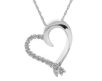 0.25 Carat Round Diamond Sliding Heart Pendant on Wheat Link Chain 10K White Gold