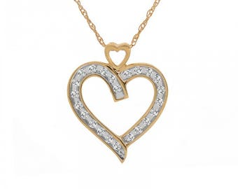 0.25 Carat Round Brilliant Diamond Heart Pendant on Wheat Link Chain 14K Yellow Gold