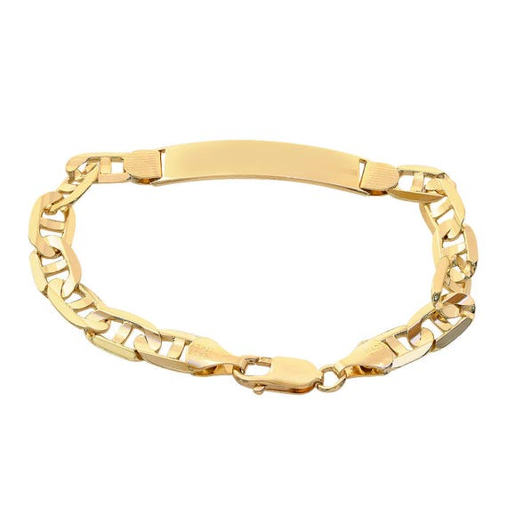 f644ae951298b 14K Yellow Gold Gucci Link Chain ID Bar Bracelet Made In Italy